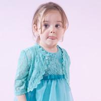 Wholesale Cape Poncho Coats For Girls - Yingzifang 2017 Girls Baby Summer Cape Coat Wedding Lace Bolero Jackets For Girls Clothing Children Half Sleeve Kids Bridemaid Outerwear