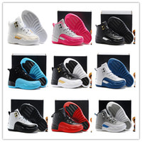 Wholesale Toddlers Gold Sneakers - Kids Retro 12s Basketball Shoes Boys Girls OVO 12 French Blue The Master Taxi Children Sports Shoes Toddlers 12s Kids Sneakers With Box