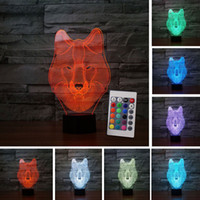 Wholesale Baby Lampe - New Upgrade 7 Color Wolf Lamp 3D Remote Control Visual Led Night Lights For Kids Touch USB Table Lampe Baby Sleeping Nightlight