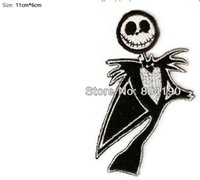 Wholesale Wholesale Christmas Iron Appliques - Nightmare Before Christmas Jack X'mas Movie TV Embroidered Iron On Patch Applique Badge Wholesale Dropship