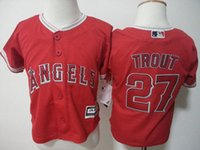 Wholesale Boys Cool Shirt - NWT Toddler 27 Mike Trout Jersey Los Angeles Angels of Anaheim Baseball Preschool Jerseys Cool Base Red Home Stitched Shirt Size S-L