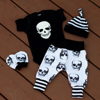 Wholesale Skull Rompers - 2017 Clothing Set Newborn Baby Boy Girl Halloween Skull Bodysuit Rompers+Long Pants+Hat Outfit Autumn Winter 4 Piece Set