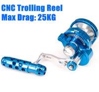 Wholesale Game Boat - 2017 Blue CNC Full Metal Trolling Reel Jigging Max Drag 25kg Fishing Reel 7+1 Speed Raft Wheel for Big game Sea Boat reels