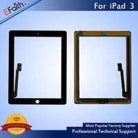 Atacado - Para iPad 3 Black Touch Screen Digitizer Substituição com Home Button + Adhesive Free DHL shipping