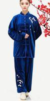 tai chi se adapta a las mujeres al por mayor-terciopelo bordado trajes de tai chi ropa de práctica otoño e invierno gruesa bordado ciruela flor hombres y mujeres oro terciopelo mart