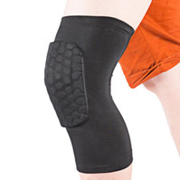 Wholesale Leg Support Sports - Sports Elastic Kneepad Honeycomb Knee Pads Leg Knee Sleeve Protective Pad Support Guard Hexpad Long Knee Protector Soft Sport Safety
