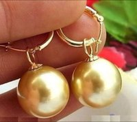 Wholesale Real Gold Earrings 14k - REAL HUGE 16MM GOLD AAA++ SOUTH SEA SHELL PEARL DANGLE EARRING 14K