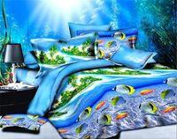 Wholesale Beach Duvets - Wholesale- Beach Themed Duvet Cover Sets Blue Sea Fish Bedding Set 3D Style Bed Linens 3D Comforters Queen Size Bed Cover Set