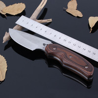 Wholesale Buck Elk Knife - BUCK Outdoor Tactical Hunting Knife 8Cr13Mov Fixed Blade Nylon Sheath Wood Handle Elk Straight Knives Survival Hand Tools