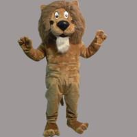 mascote rei venda por atacado-Traje da mascote do leão do dia das bruxas natal caráter traje de aniversário vestido tamanho adulto rei leão mascote frete grátis