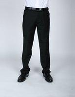 Wholesale Bestman Suits - Wholesale- 2017 Men Elastic Waist Business Black Suit Pants Wedding Bestman Groom Pants For Party Prom Formal Trousers