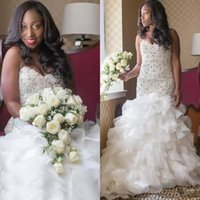 Wholesale Low Back Wedding Dress Beaded Chiffon - Shinning Beaded African Bridal Gowns White Chiffon Tiered Mermaid Wedding Dresses Low Back Sweep Train Sweetheart Wedding Vestidos