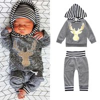 Wholesale Girls Autumn Apparel - 2017 Baby Hooded Clothing Sets Boys Girls Striped Hoodies Pants 2Pcs Set INS Spring Autumn Toddler Apparel Boutique Infant Clothes Outfits