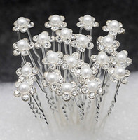 Wholesale Hair Clips Pearl Crystals - 20 Pieces Free Delivery Wedding Accessories Bridal Pearl Hairpins Flower Crystal Rhinestone Hair Pins Clips Bridesmaid Women Hair Jewelry