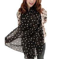 Wholesale Girls Polka Dot Cardigan - Wholesale- 2016 New Stylish Cheap Female Cardigan Stole Girl Long Soft Silk Chiffon Scarf Wrap Polka Dot Shawl Scarve For Women
