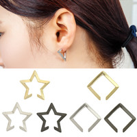 XS Fashion Cool Contracted Hollow Out Stars Brincos Pentagram Triangle Square Ear Bones Clip Atacado