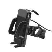 Wholesale cell phone chargers for motorcycles for sale - Group buy Motorbike Motorcycle Phone Holder Clamp Stand Handlebar Mount Mobile Phone Cradle with USB Charger for inch Cell Phone GPS