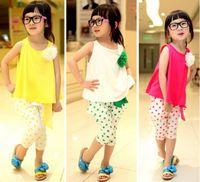 Wholesale Girls Polka Dot Harem Pants - children's clothing summer set child flower female vest polka dot harem pants kids clothes girls clothing sets 3 colors