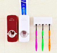 Wholesale Tooth Brush Toothpaste Holder - 1 set Tooth Brush Holder Automatic Toothpaste Dispenser + 5 Toothbrush Holder Toothbrush Wall Mount Stand Bathroom Tools