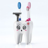 Wholesale Toothbrush Bracket - New Home Toothbrush Holder Bracket Container For Bathroom Novelty 4 Hole Tooth Style Home decor Brand Free shipping