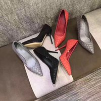 Wholesale Shoes Coloured High Heels - 2017 aw new style women high heels 9.5cm genuine leather stiletto heels pumps high heels shoes, women red colour sexy high-heels shoes