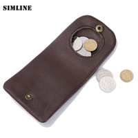 Wholesale Handmade Cowhide Purses - Wholesale- Brand Vintage Casual Handmade 100% Genuine Cow Leather Cowhide Men Women Mens Short Mini Small Wallet Wallets Coin Puse For Man