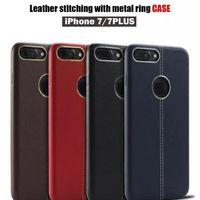 cajas del teléfono celular de cuero rojo al por mayor-Para Red iphone 7 7 plus Cuero suave caso de cuero costura con caja de anillo de metal TPU teléfono celular