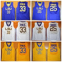 Wholesale Tiger Sleeveless Shirt - 2016 LSU Tigers College Basketball Jerseys 25 Ben Simmons Jersey Shirt 33 Shaquille ONeal Jerseys Uniforms O Neal Home Yellow Purple White