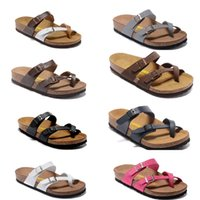 Wholesale Ankle Wrap Flat Sandals - 2017 Hot Sale Summer Men and Women Classic Milano Cork sandals Hard wear Let you walk like a barefoot on a beach multi color black size 34-4