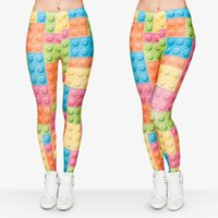 Wholesale Pattern Yoga Pants - Women Leggings Toy Bricks 3D Graphic Print Girl Skinny Stretchy Yoga Comfortable Colorful Pattern Sport Pencil Pants Trousers New (J29724)