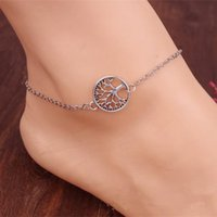 Wholesale Sports Body Jewelry - Antique Silver Anklets Body Jewelry fashion Young the tree of life family tree