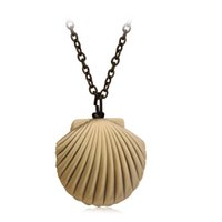 Wholesale Heart Locket Photo - Vintage Brass Sea Shell Locket Pendant Necklace Opening Photo Box Necklaces Women Men Lover Ocean Beach Jewelry