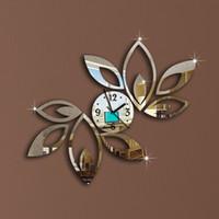 decoração da sala 3d flor venda por atacado-Atacado- Flower Art Mordern projeto luxuoso DIY removível 3D espelho de cristal Relógio de parede adesivos de parede Sala Quarto Decor Decoração