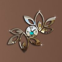 diy çiçek aynası toptan satış-Toptan-Çiçek Sanat Mordern Lüks Tasarım DIY Çıkarılabilir 3D Kristal Ayna Duvar Saati Duvar Sticker Oturma Odası Yatak Odası Dekor Dekorasyon