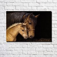 Wholesale Modern Canvas Art Horses - European Modern Abstract Brown Horse and Foal Oil Painting Poster Printed on Canvas Poster Bar Pub Home Canvas Art Decor Fashion Custom