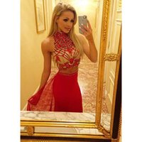 Wholesale Evening Dresses Mermaid Crystals - red evening dress 2017 crystal mermaid prom dress 2 piece high neck sleeveless long evening gowns
