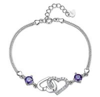 Wholesale Purple Diamond Bracelet - Hot 925 Sterling Silver Bracelets Double Heart Love to Love Purple Diamond Box Links Chain Bracelet Jewelry Clover Bracelet Free Shipping