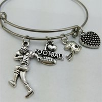 South American spring wire jewelry - I Love Football Basketball Baseball Softball Mom Sticks Sport Charm Stainless Steel Expandable Wire Bangle Love Diy Jewelry