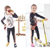 Wholesale Girl Surfing Suit - Girls sun protection Long sleeve Swim suit 2pc 3pc set Indian chief printing kids Swimwear set Dream catcher Surfing wetsuit for 5-9T
