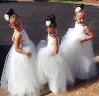 Wholesale bridesmaid dresses for little girls - Long Kids Formal With Lace Flower Girls' Dresses 2017 Cute Little White Girls Pageant Girl Bridesmaid Dress Ball Gowns For Party Wedding