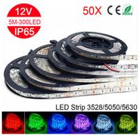 pcb white led пожелтение оптовых-Оптовая 5 м RGB светодиодные полосы света 5050 5630 2835 3528 SMD 60Leds / м светодиодные полосы строка гибкая лента светодиодные ленты водонепроницаемый 250 метров 50 шт. / лот