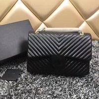 Wholesale Deep V Fringe - caviar double flap bag women famous brands V fringe quilted bag luxury designer handbags high quality chain shoulder crossbody bags