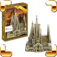 Wholesale Sagrada Familia - New Year Gift Sagrada Familia Basilica 3D Puzzle Church Building Model Scale Puzzle DIY Toy Famous Collection PUZ Present