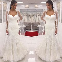 Wholesale Ruched Mermaid Wedding Gowns - Modest Mermaid Lace Wedding Dresses Sweetheart Appliques Sexy Corset Wedding Dress Bridal Gowns With Button Covered