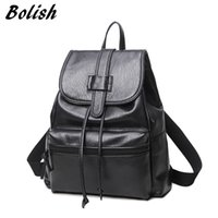 Wholesale Larger Ladies Linens - Bolish PU Leather Women Female Backpack Preppy Style Girls School Bag Larger Size Travel Rucksack Black Color Ladies Daypack