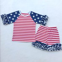 Wholesale Wholesale American Flag Shirts - Girl Clothing Sets 4th of July Baby Girls American flag Short T-shirt and Shorts Cotton outfits kids Clothes ZD005