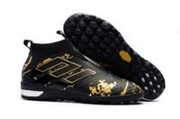 messi schwarze klampen großhandel-2018 Hot Black Gold TF Messi Hallenfußballschuh ACE Tango 17+ Purecontrol TF 35-45 TF / IC Original Hallenfußballschuh Herren Fußballschuh