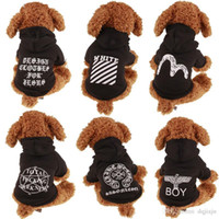Wholesale Teddy Halloween Costume - AHL Teddy Dog Poodle Apparel Fashion Cute Dog Hoodies Pet Sweater Puppy Black Jacket Soft Coat Summer Dog Clothes Outfit Winter