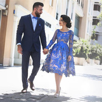 Wholesale Gold Evening Dresses Homecoming - Saidmhamad Royal Blue Short Prom Dress Vintage Lace Applique Long Sleeve A-Line Short Evening Dress Blue Homecoming Dresses