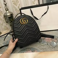 Wholesale Hobo School Bag - Fashion Brand New Backpack Women Bag SN#G99 Real Leather AAA+Quality School Bags Wavy lines Hobo Bags 26CM Wallets